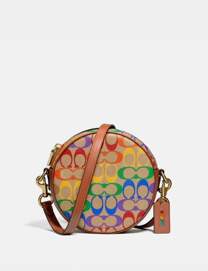 Coach Circle Crossbody in Rainbow Signature Canvas Brass/Tan Penny Multi New Featured Coach Pride Collection