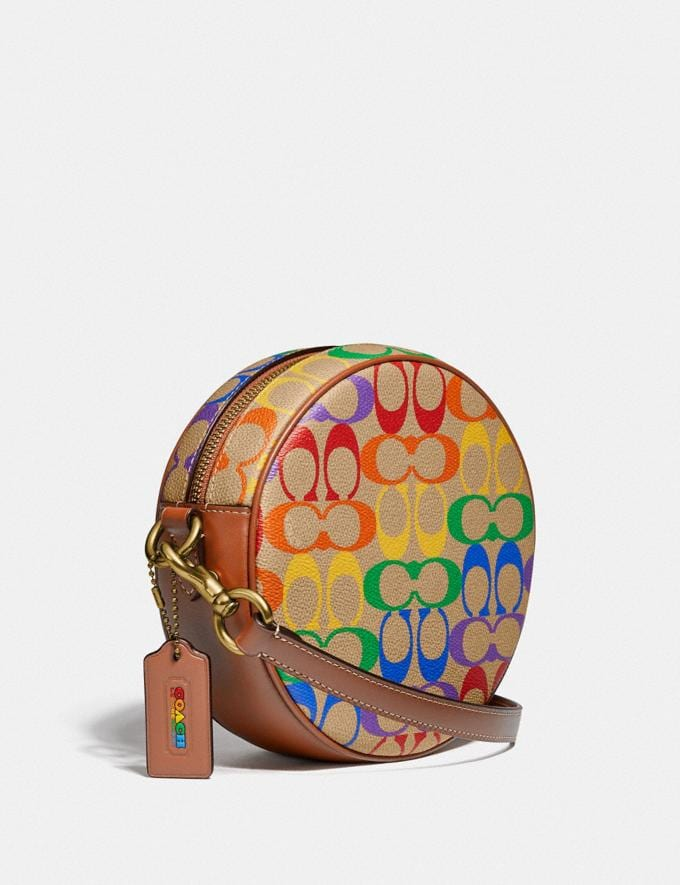 Coach Circle Crossbody in Rainbow Signature Canvas Brass/Tan Penny Multi New Featured Coach Pride Collection Alternate View 1