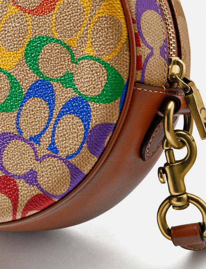 Coach Circle Crossbody in Rainbow Signature Canvas Brass/Tan Penny Multi New Featured Coach Pride Collection Alternate View 5
