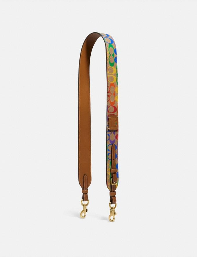 Coach Strap in Rainbow Signature Canvas Brass/Tan Penny Multi Women Accessories Bag Accessories & Keyholders
