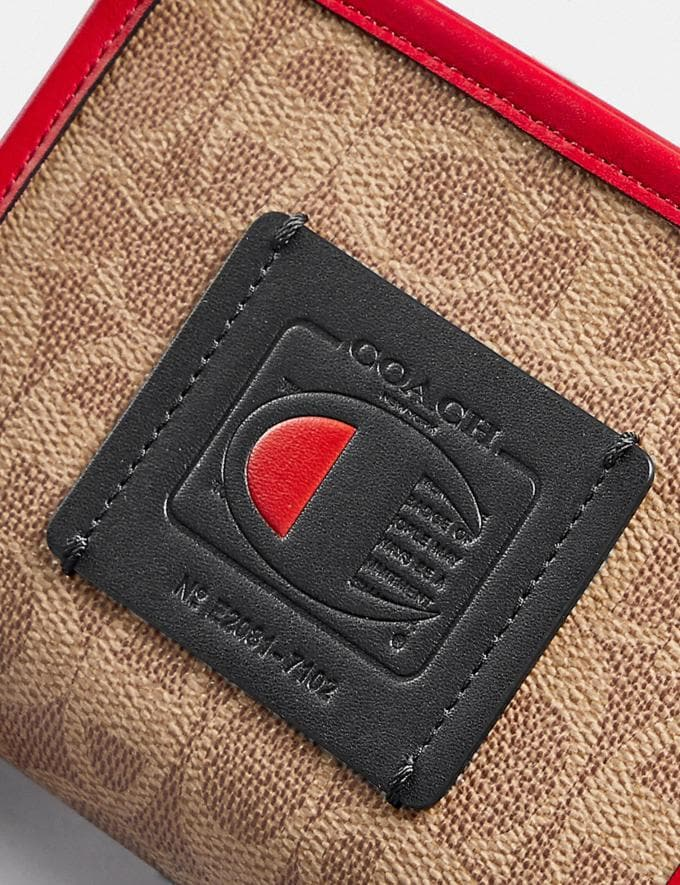 Coach Coach X Champion Rechteckiger Beutel Aus Charakteristischem Canvas Messing/Hellbraun Rot Neu Kooperationen Coach x Champion Alternative Ansicht 4