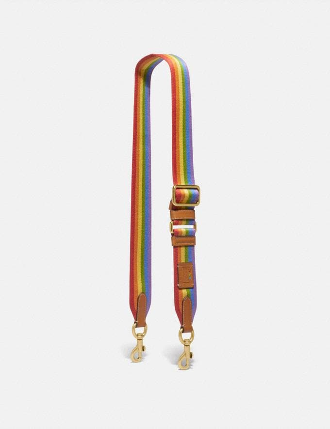 Coach Strap With Rainbow Stripe Multi Women Accessories Bag Straps