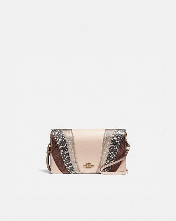 Coach HAYDEN FOLDOVER CROSSBODY CLUTCH WITH WAVE PATCHWORK AND SNAKESKIN DETAIL