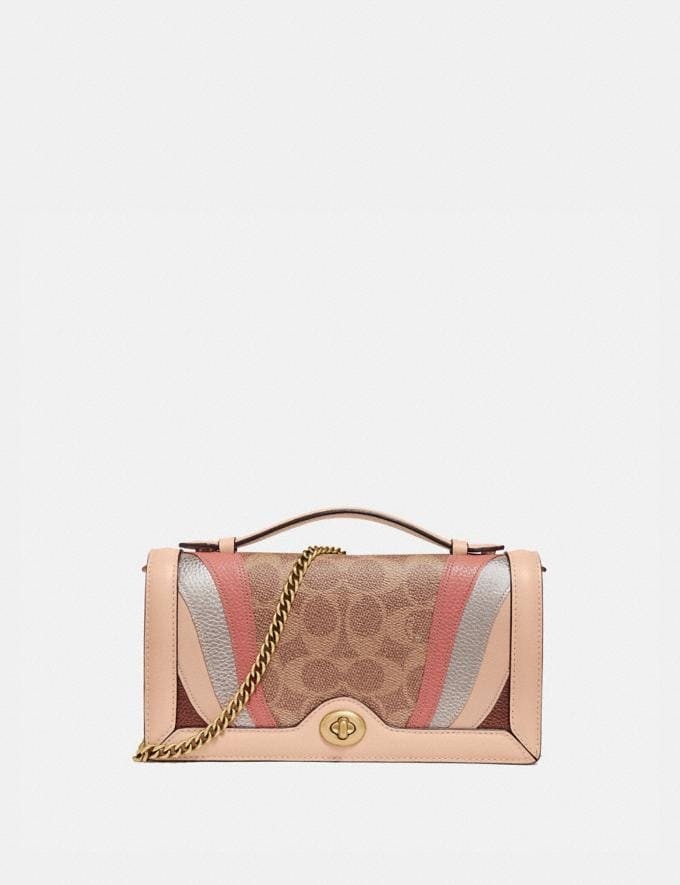Coach Riley Chain Clutch in Signature Canvas With Wave Patchwork Tan Multi/Brass Women Small Leather Goods Crossbody Wallets