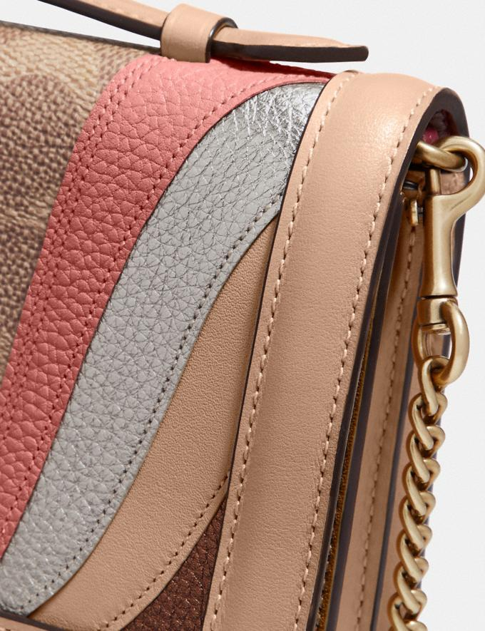 Coach Riley Chain Clutch in Signature Canvas With Wave Patchwork Tan Multi/Brass Women Small Leather Goods Crossbody Wallets Alternate View 4