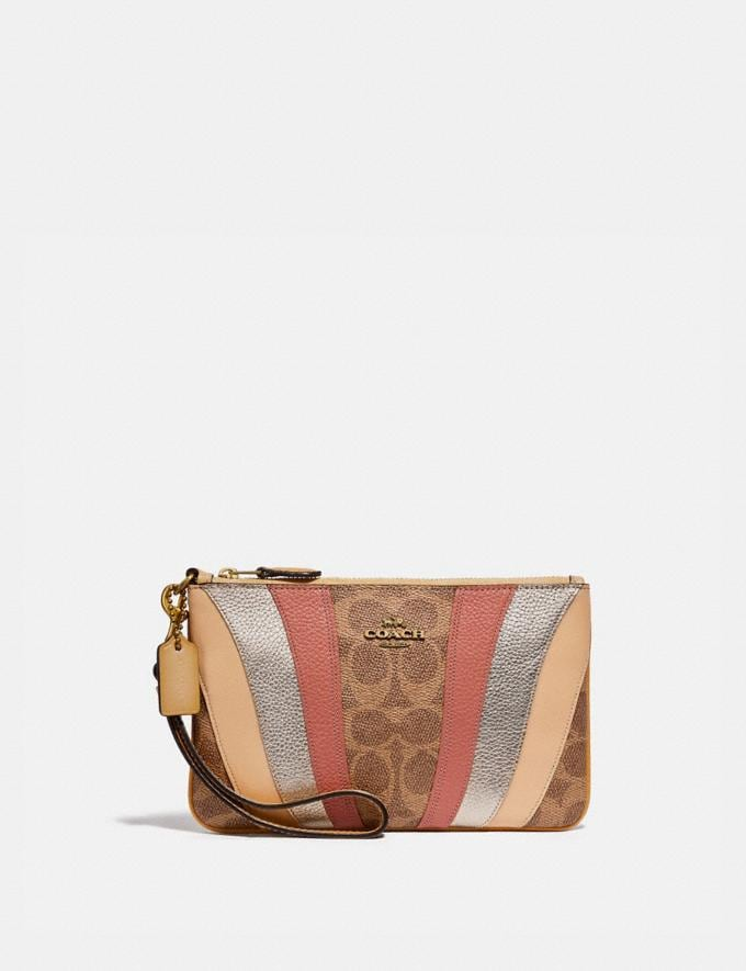 Coach Small Wristlet in Signature Canvas With Wave Patchwork Tan Multi/Brass Women Small Leather Goods Wristlets