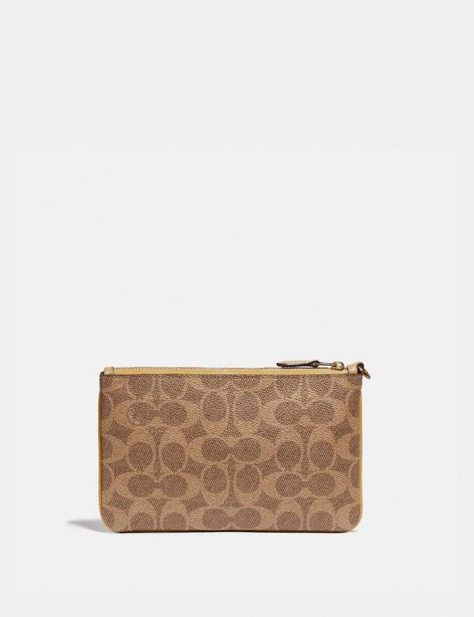 Coach Small Wristlet in Signature Canvas With Wave Patchwork Tan Multi/Brass Women Small Leather Goods Wristlets Alternate View 1
