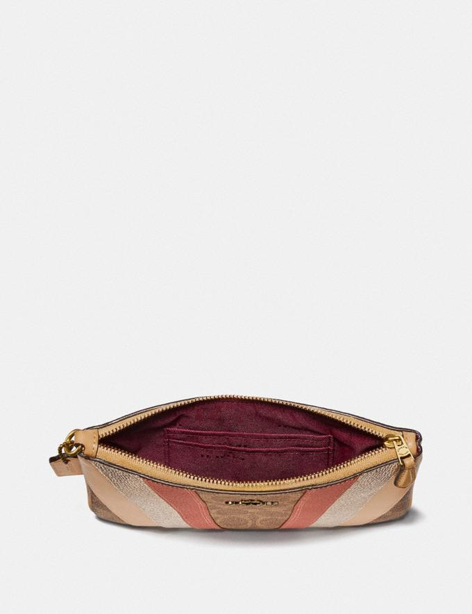 Coach Small Wristlet in Signature Canvas With Wave Patchwork Tan Multi/Brass Women Small Leather Goods Wristlets Alternate View 2