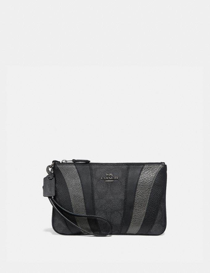 Coach Small Wristlet in Signature Canvas With Wave Patchwork Charcoal/Multi/Pewter Women Wallets & Wristlets Wristlets