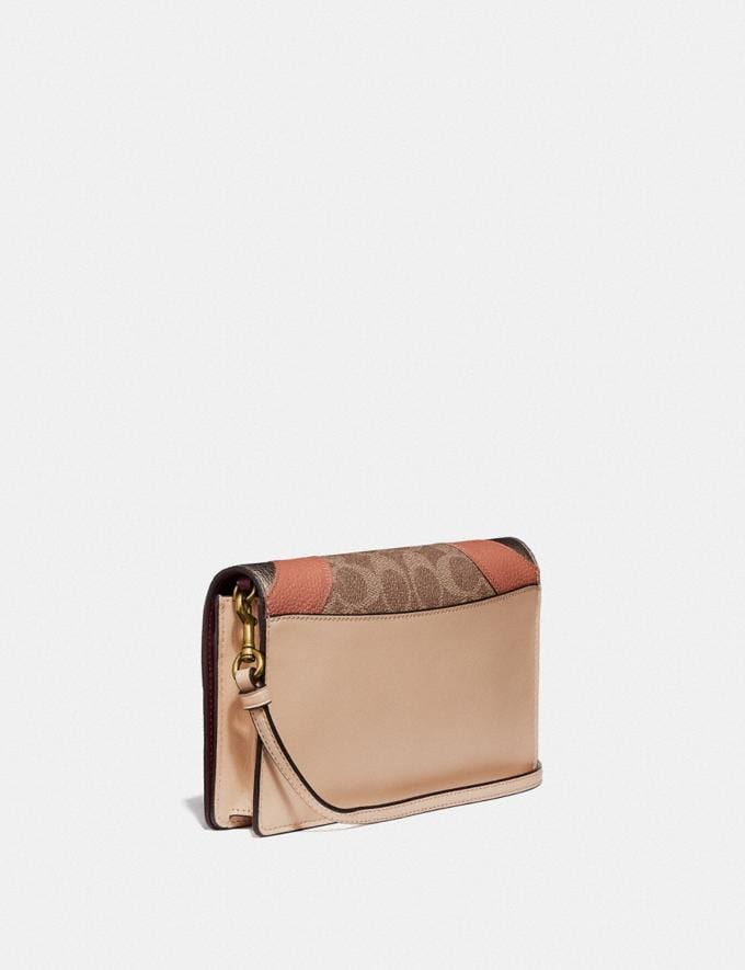 Coach Hayden Foldover Crossbody Clutch in Signature Canvas With Wave Patchwork Tan Multi/Brass New Featured Women New Top Picks Alternate View 1