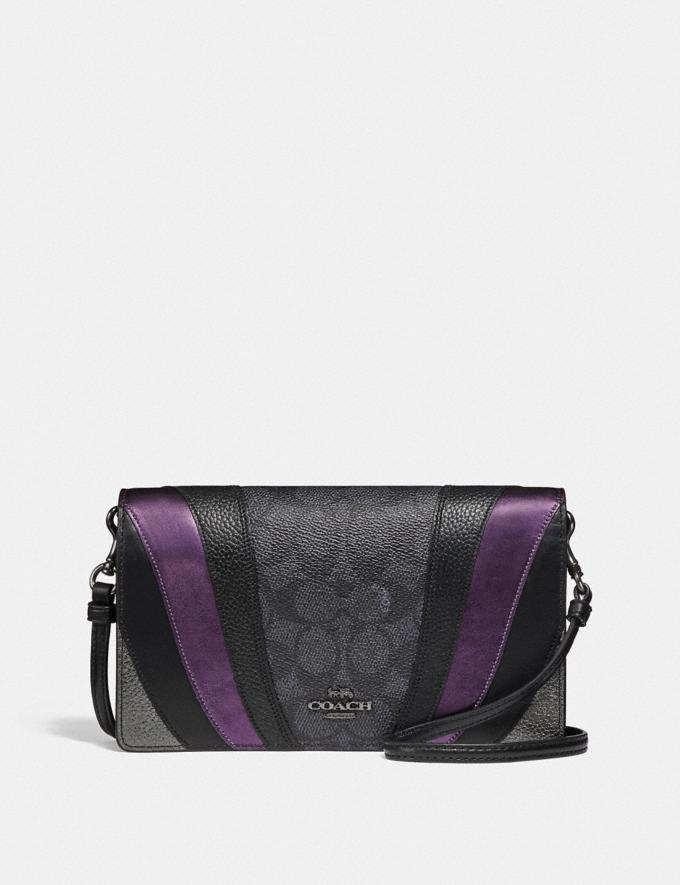 Coach Hayden Foldover Crossbody Clutch in Signature Canvas With Wave Patchwork Charcoal/Multi/Pewter