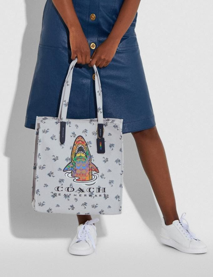Coach Tote With Rainbow Signature Sharky Multi New Women's New Arrivals Alternate View 4