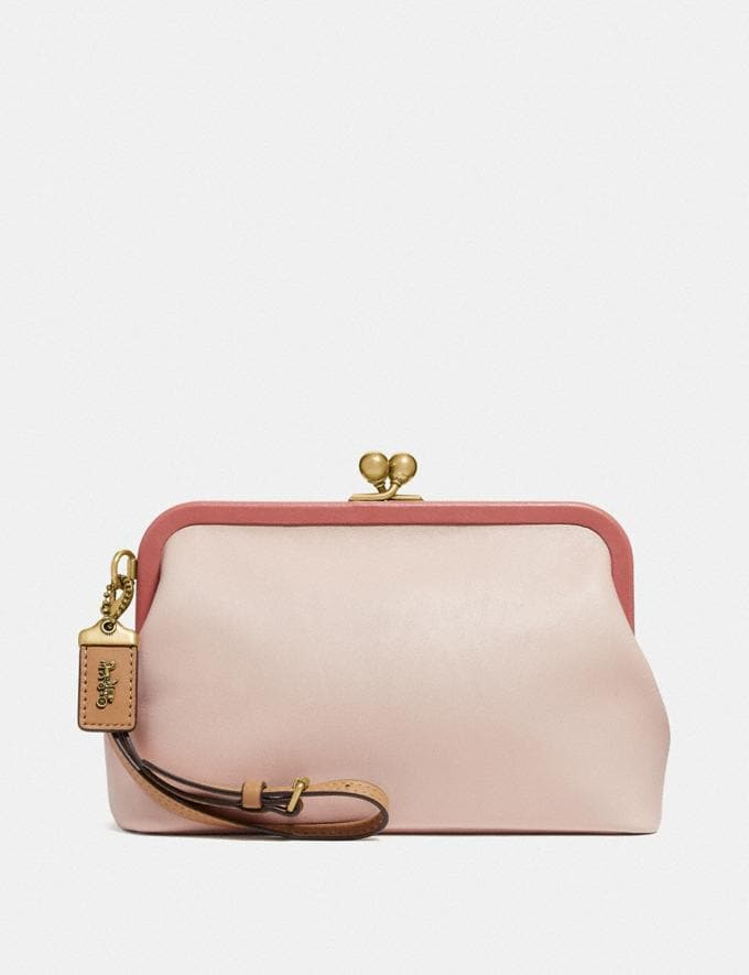 Coach Kisslock Clutch in Colorblock Light Peach Multi/Brass Women Bags Clutches