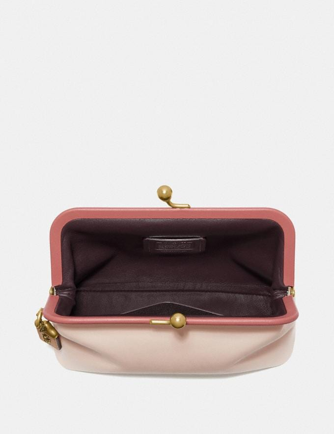 Coach Kisslock Clutch in Colorblock Light Peach Multi/Brass Women Bags Clutches Alternate View 1