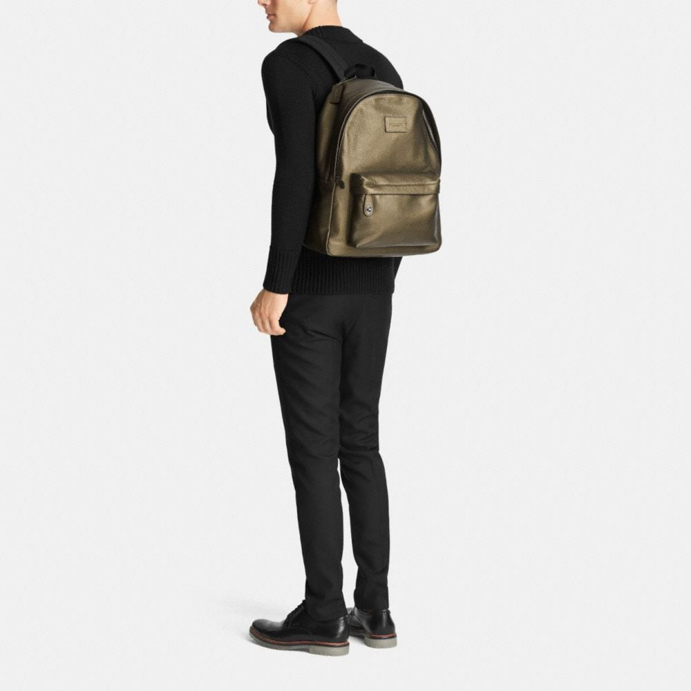 Campus Backpack in Metallic Pebble Leather - Alternate View M1