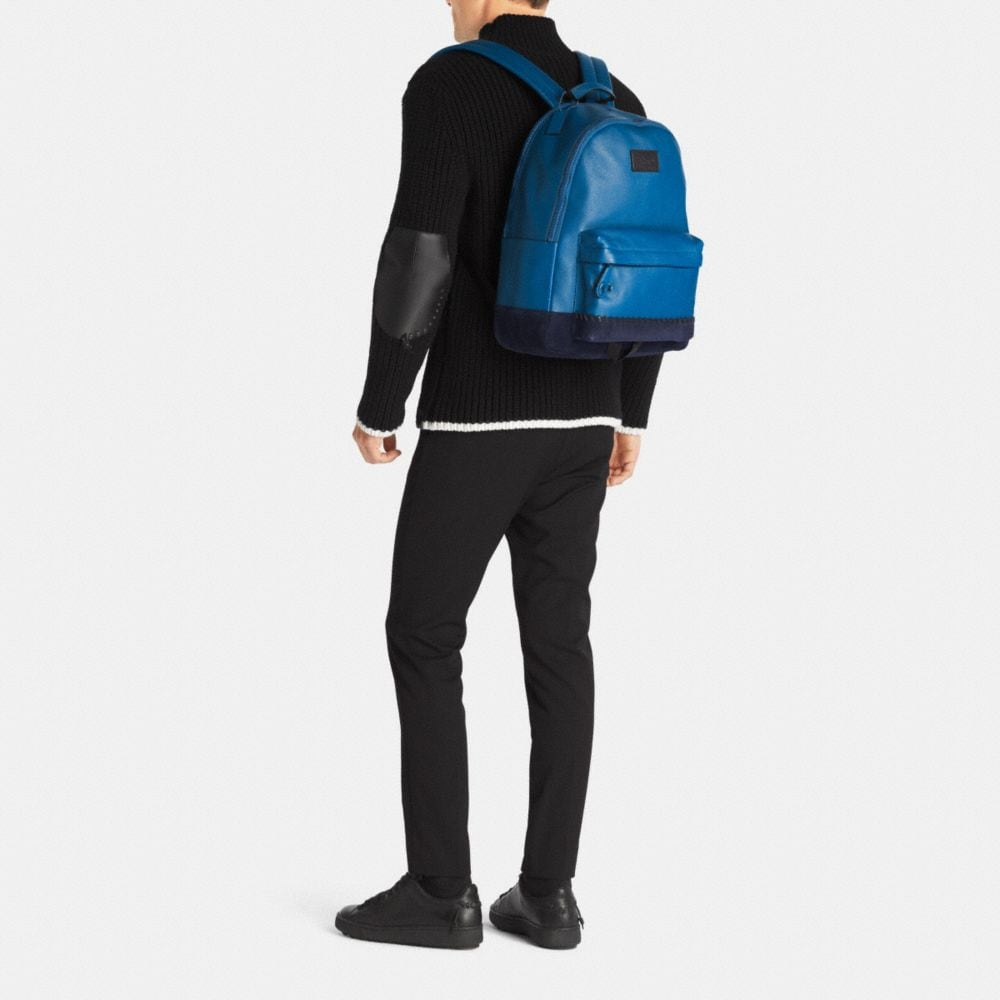 Modern Varsity Campus Backpack in Pebble Leather - Alternate View M1
