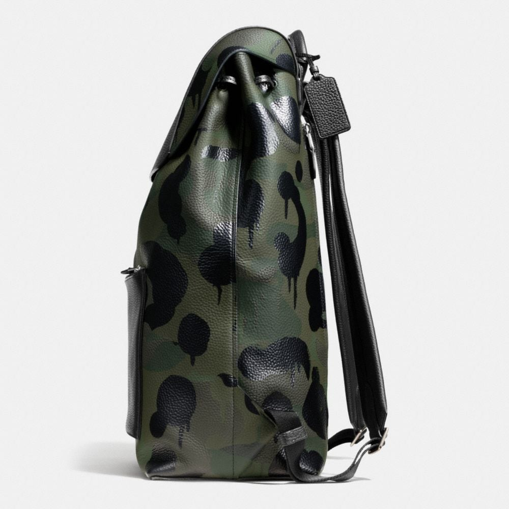 LARGE MANHATTAN BACKPACK IN MILITARY WILD BEAST PRINT LEATHER - Alternate View A1