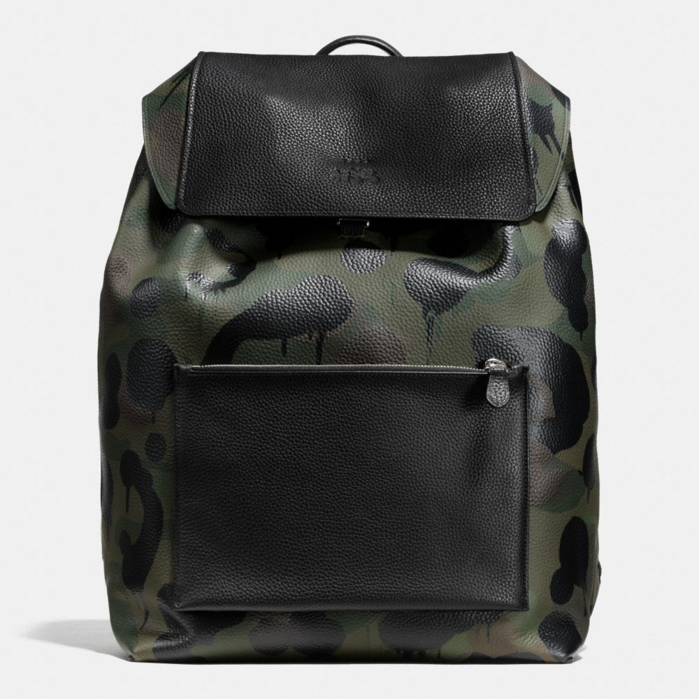Large Manhattan Backpack in Military Wild Beast Print Leather