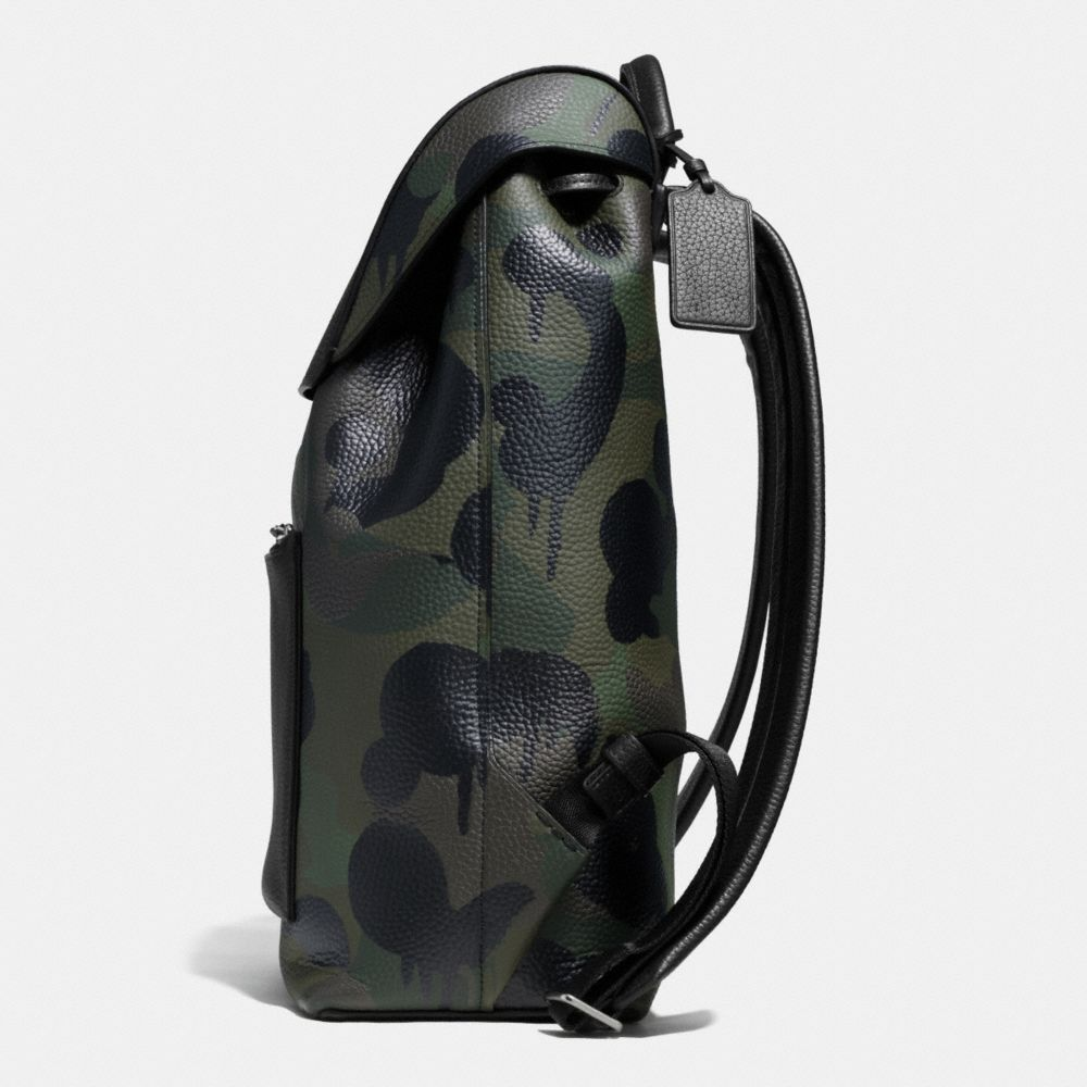 Manhattan Backpack in Military Wild Beast Print Leather - Alternate View A1