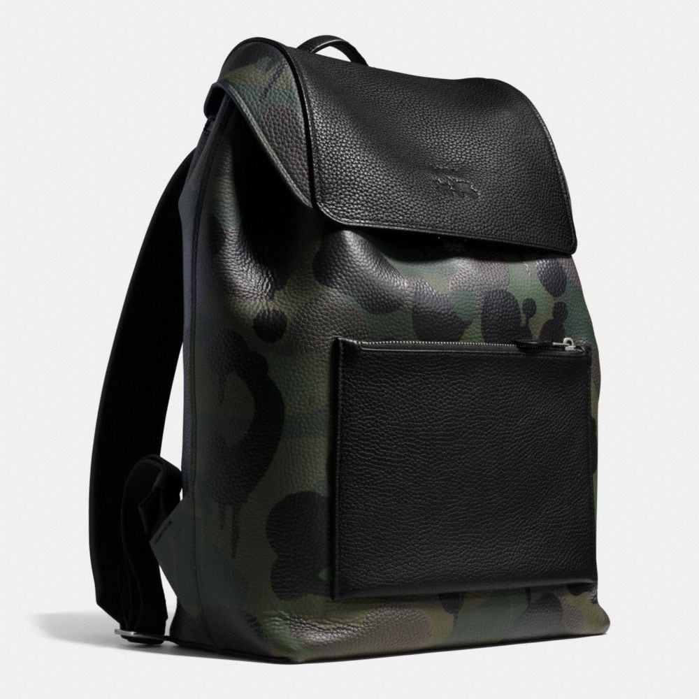 Manhattan Backpack in Military Wild Beast Print Leather - Alternate View A2