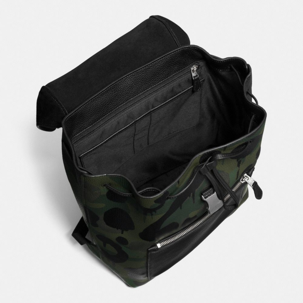 MANHATTAN BACKPACK IN MILITARY WILD BEAST PRINT LEATHER - Alternate View A3