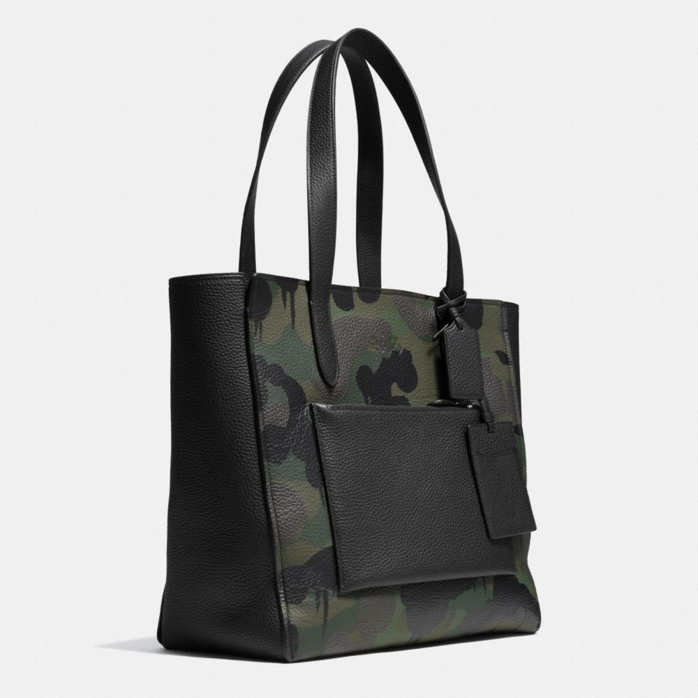 Manhattan Tote in Military Wild Beast Print Leather - Alternate View A2