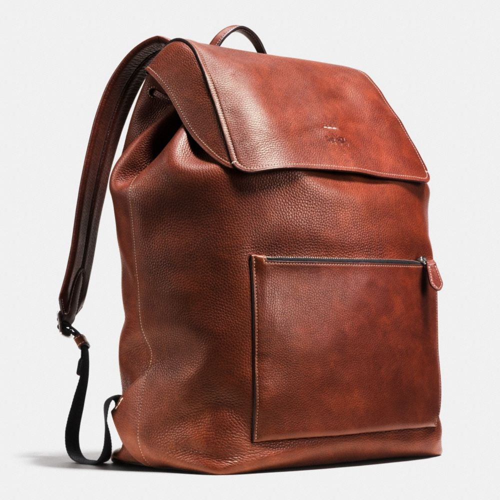 LARGE MANHATTAN BACKPACK IN PEBBLE LEATHER - Alternate View A2