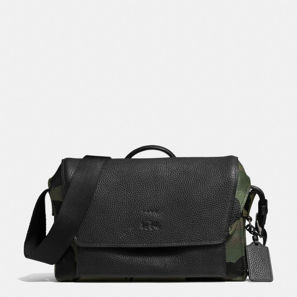 Manhattan Messenger in Military Wild Beast Print Leather