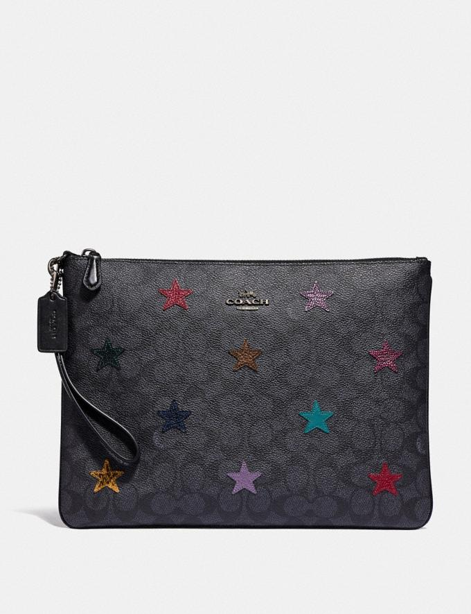 Coach Large Wristlet 30 in Signature Canvas With Star Applique and Snakeskin Detail Charcoal/Multi/Pewter Women Small Leather Goods Wristlets
