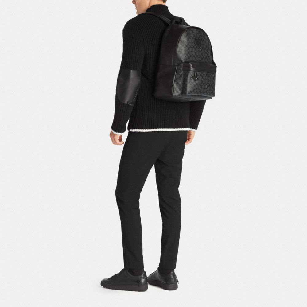 CAMPUS BACKPACK IN SIGNATURE COATED CANVAS - Alternate View M1