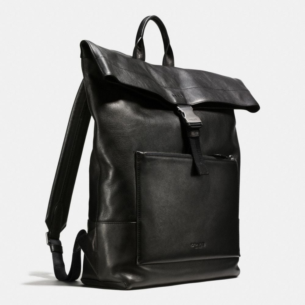 Manhattan Foldover Backpack in Sport Calf Leather - Alternate View A2