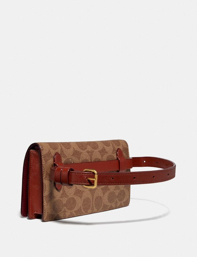 Coach Convertible Belt Bag in Colorblock Signature Canvas Tan/Rust/Brass Women Bags Belt Bags Alternate View 1