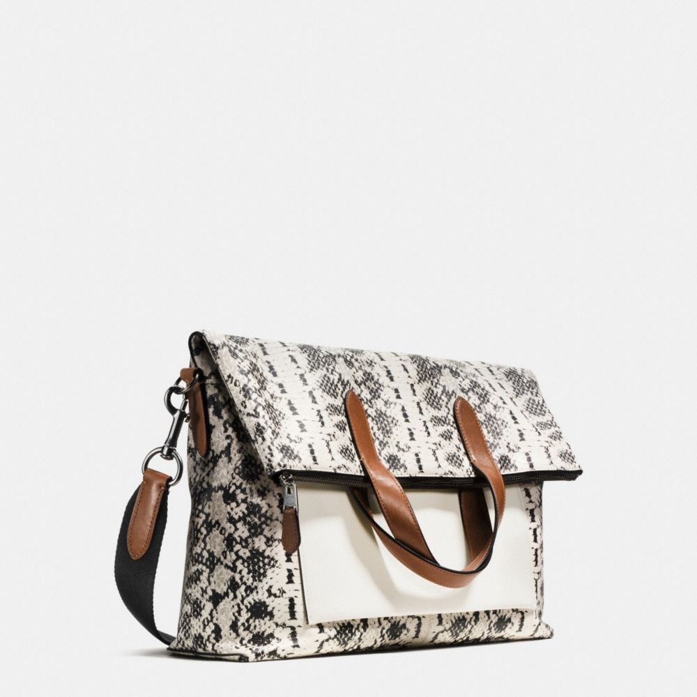 MANHATTAN FOLDOVER TOTE IN PRINTED SPORT CALF LEATHER - Alternate View A2