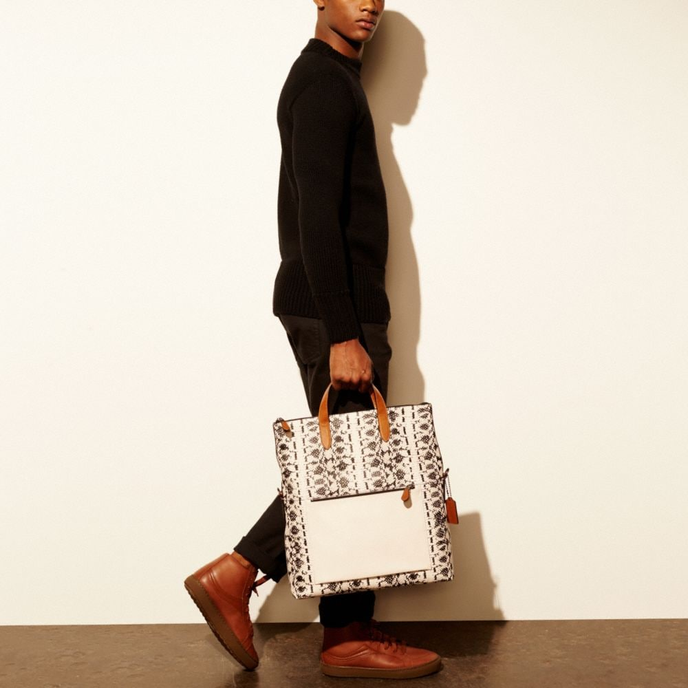 Manhattan Foldover Tote in Printed Sport Calf Leather - Alternate View A5