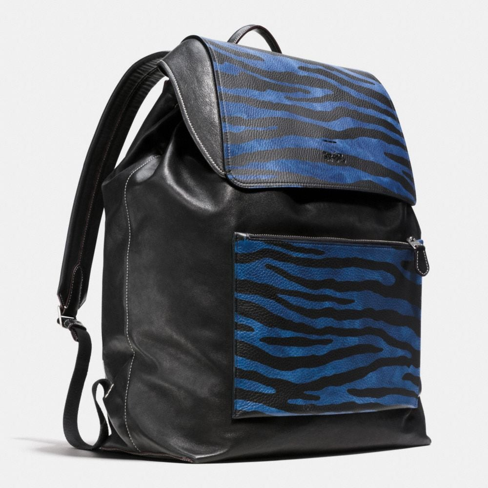 Large Backpack in Printed Pebble Leather - Alternate View A2