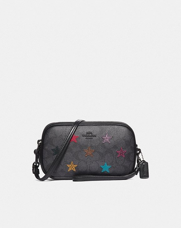 Coach SADIE CROSSBODY CLUTCH IN SIGNATURE CANVAS WITH STAR APPLIQUE AND SNAKESKIN DETAIL