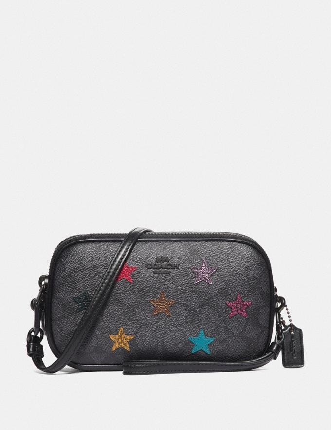 Coach Sadie Crossbody Clutch in Signature Canvas With Star Applique and Snakeskin Detail Charcoal/Multi/Pewter Women Bags Crossbody Bags