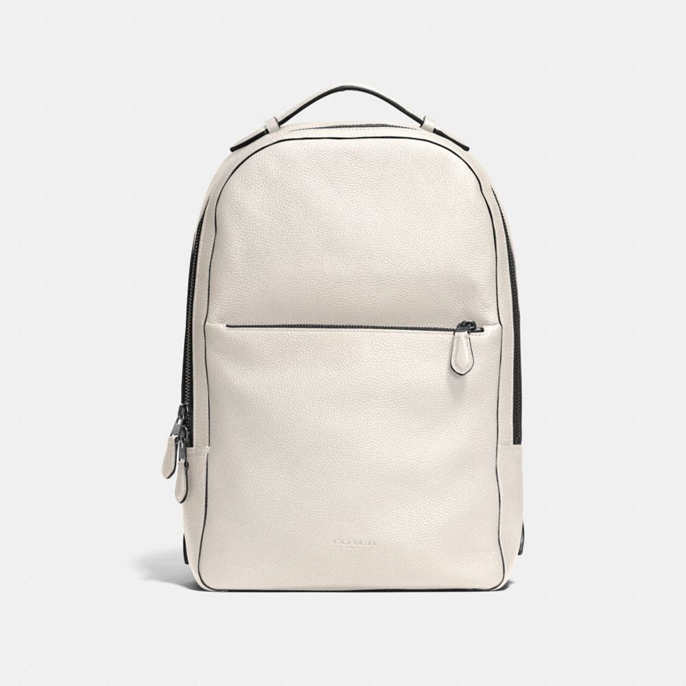 COACH Metropolitan Soft Backpack In Refined Pebble Leather in Black Antique Nickel/Chalk