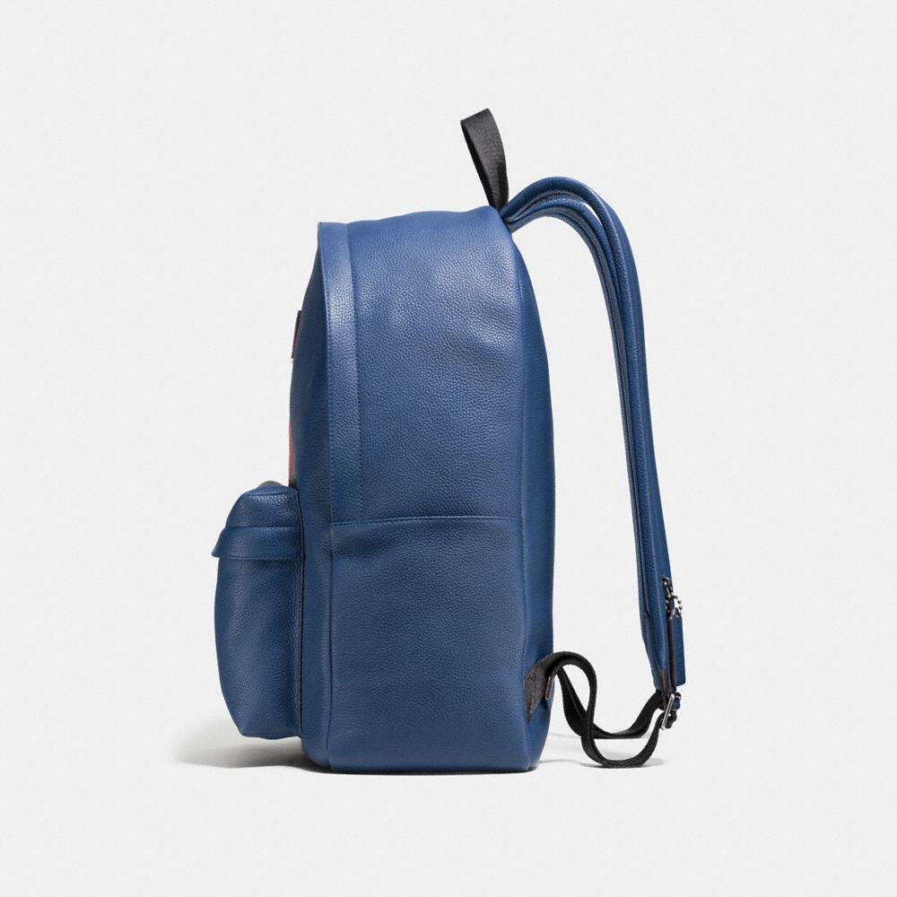 Modern Varsity Stripe Campus Backpack in Pebble Leather - Autres affichages A1