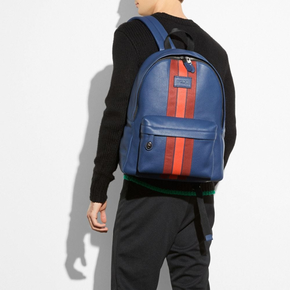 Modern Varsity Stripe Campus Backpack in Pebble Leather - Autres affichages A4