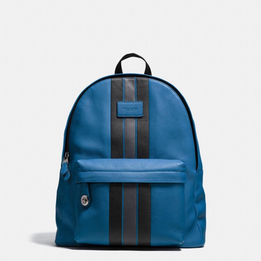 Modern Varsity Stripe Campus Backpack in Pebble Leather