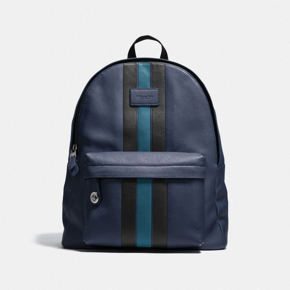 COACH Campus Backpack In Pebble Leather With Varsity Stripe in : Black Antique Nickel/Midnight/Mineral