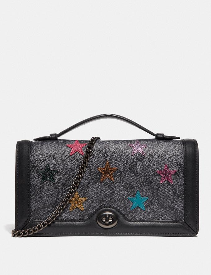 Coach Riley Chain Clutch in Signature Canvas With Star Applique and Snakeskin Detail Charcoal/Multi/Pewter Women Handbags Crossbody Bags