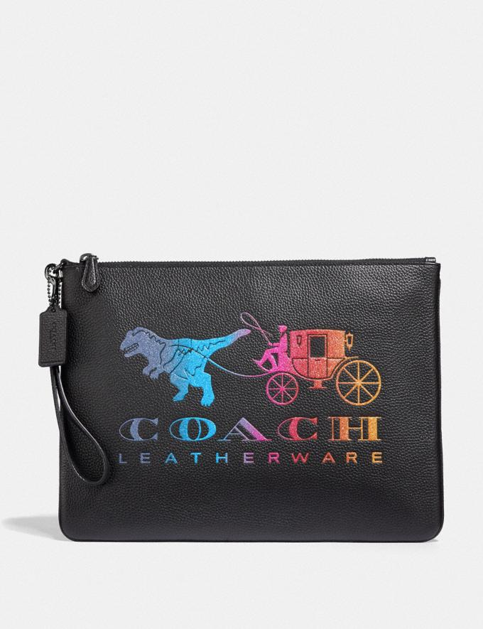 Coach Large Wristlet 30 With Rexy and Carriage Black Multi/Gunmetal Cyber Monday Women's Cyber Monday Sale Wallets & Wristlets
