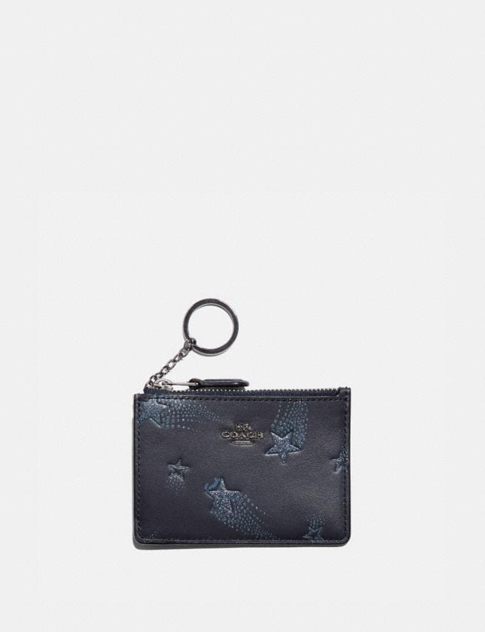 Coach Mini Id Skinny Id Case With Star Print Midnight Navy/Gunmetal Women Small Leather Goods Card Cases