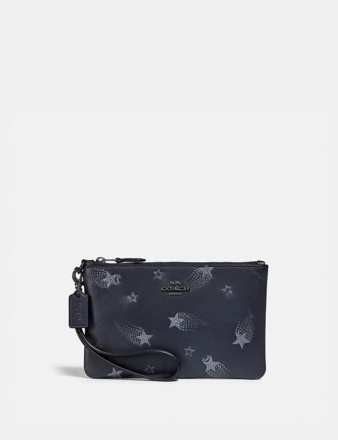 Coach Small Wristlet With Star Print Midnight Navy/Gunmetal Gifts For Her