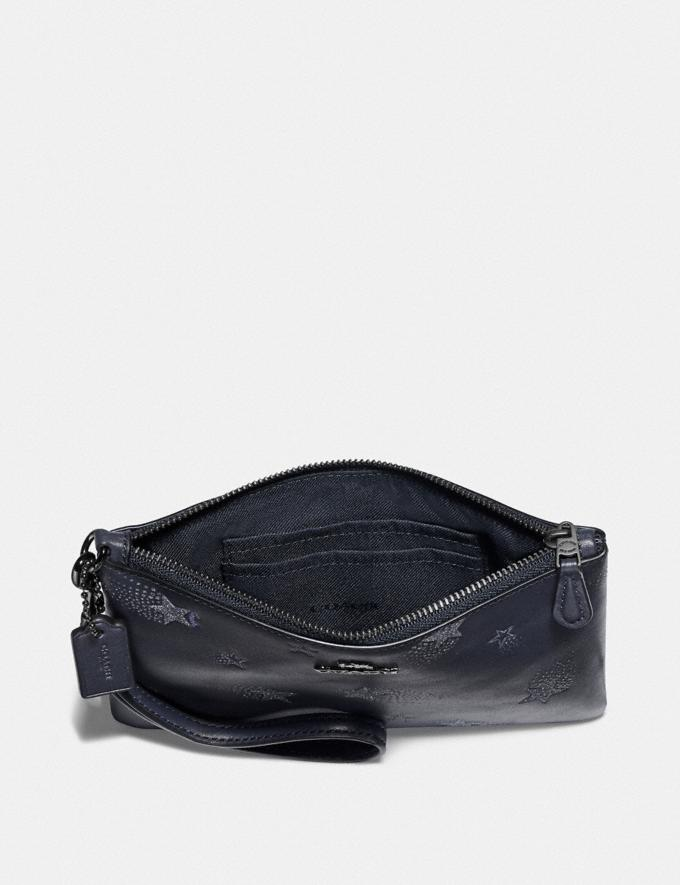 Coach Small Wristlet With Star Print Midnight Navy/Gunmetal Women Small Leather Goods Wristlets Alternate View 1