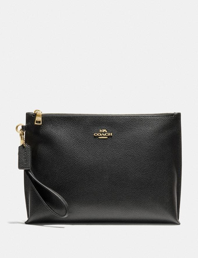 Coach Large Charlie Pouch Gold/Black New Women's New Arrivals Accessories
