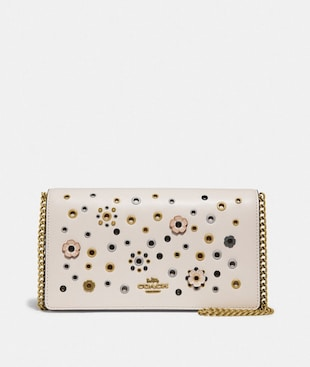 CALLIE FOLDOVER CHAIN CLUTCH WITH SCATTERED RIVETS