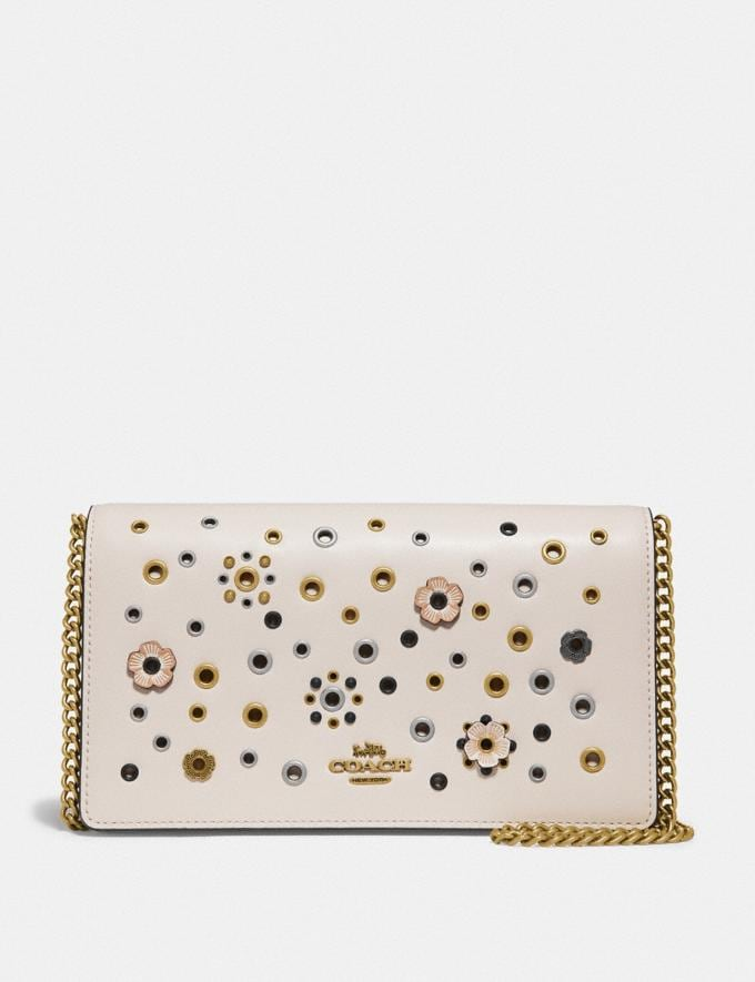 Coach Callie Foldover Chain Clutch With Scattered Rivets Brass/Chalk Multi Women Bags Crossbody Bags